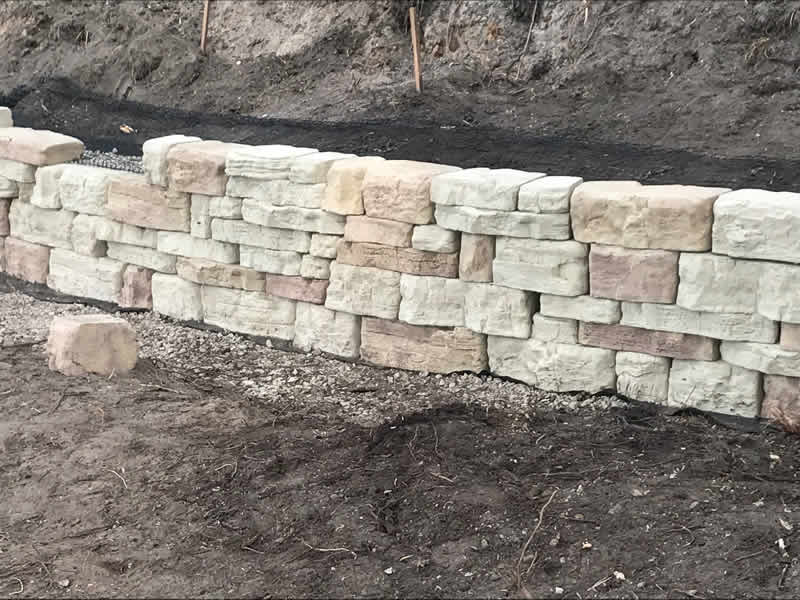 Rock wall built with proper drainage
